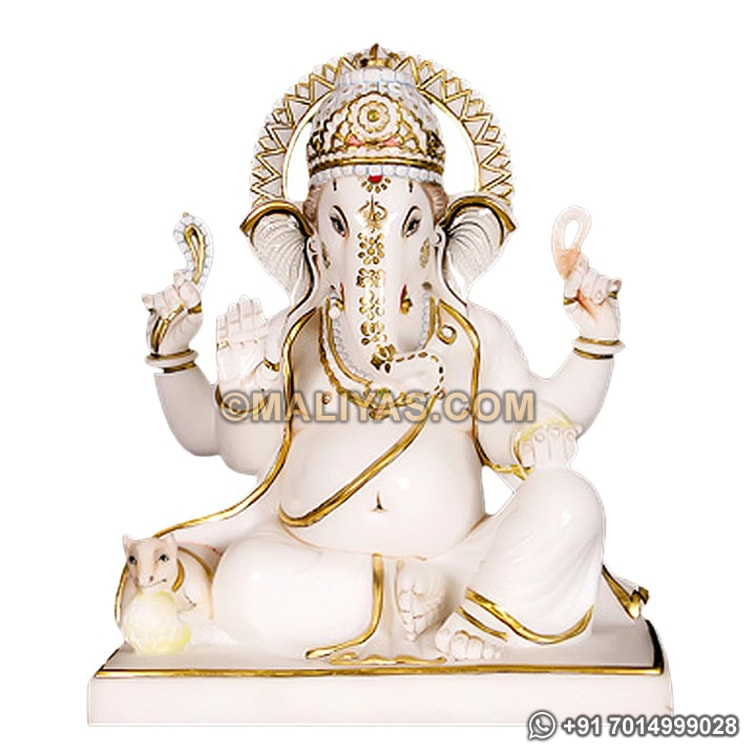 Ganesh Statue From Spotless White Marble Marble Ganesh Idol