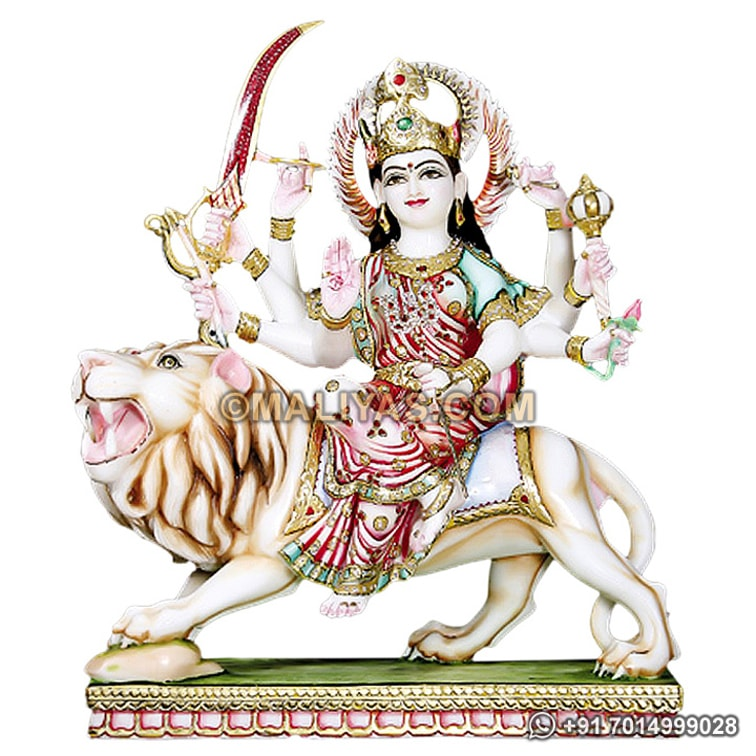 Goddess Durga Statue from Marble Stone