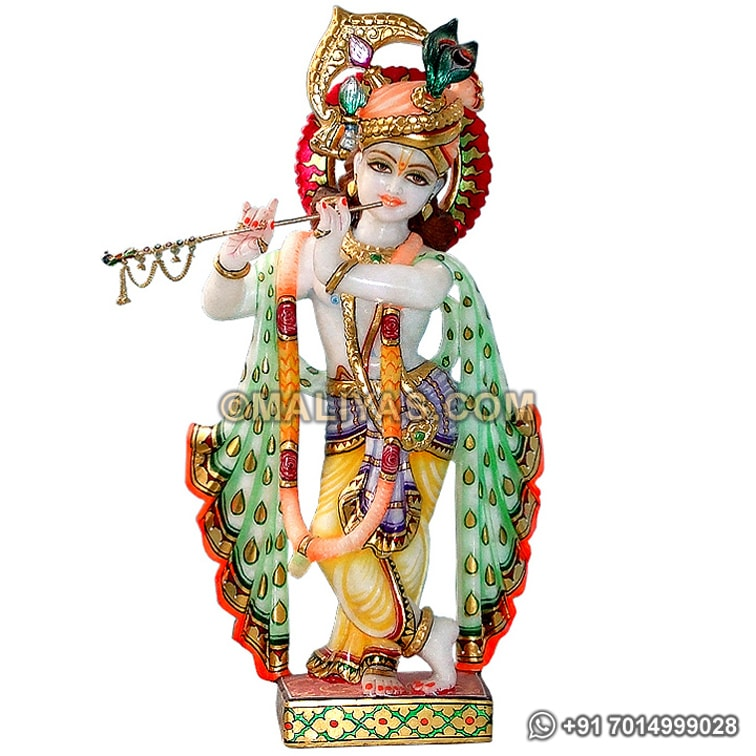 Krishna Statue carved out from White Marble
