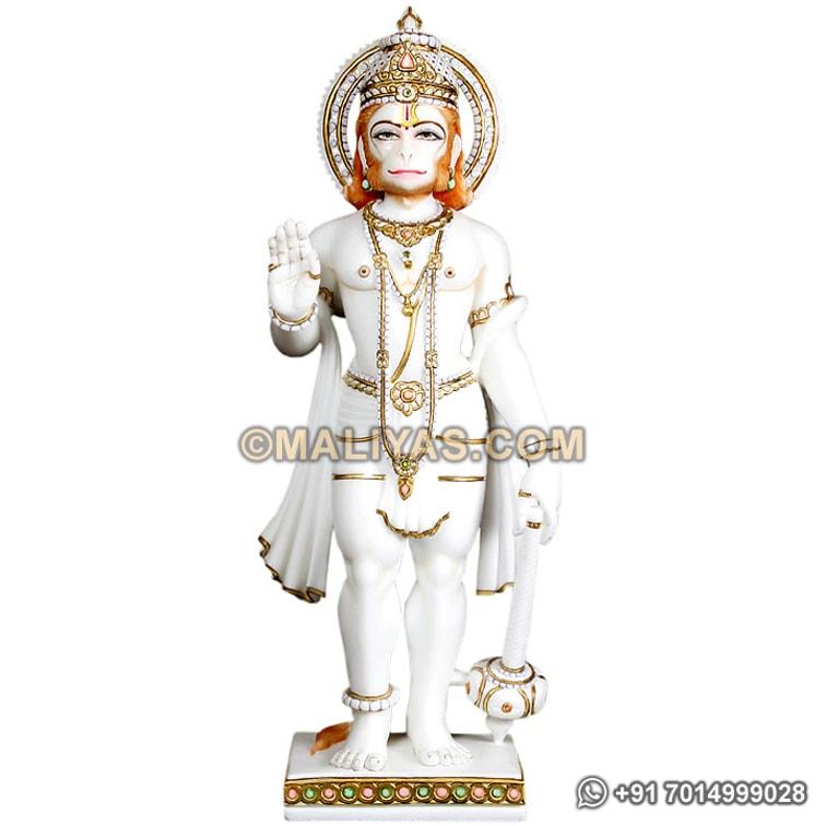 "Hanuman Statue 4/"" Wooden Handcrafted Hindu God Monkey Lord Idol Lord of Strength"