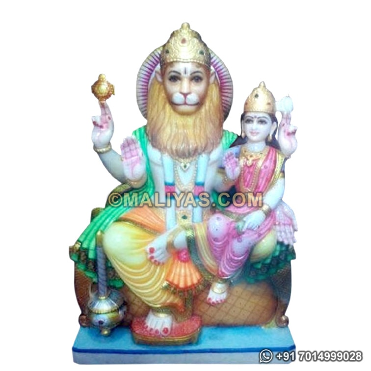 Marble Lord Narasimha with Goddess Lakshmi