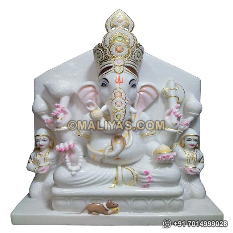 Marble Siddhivinayak Statue Marble Ganesh Sitting With