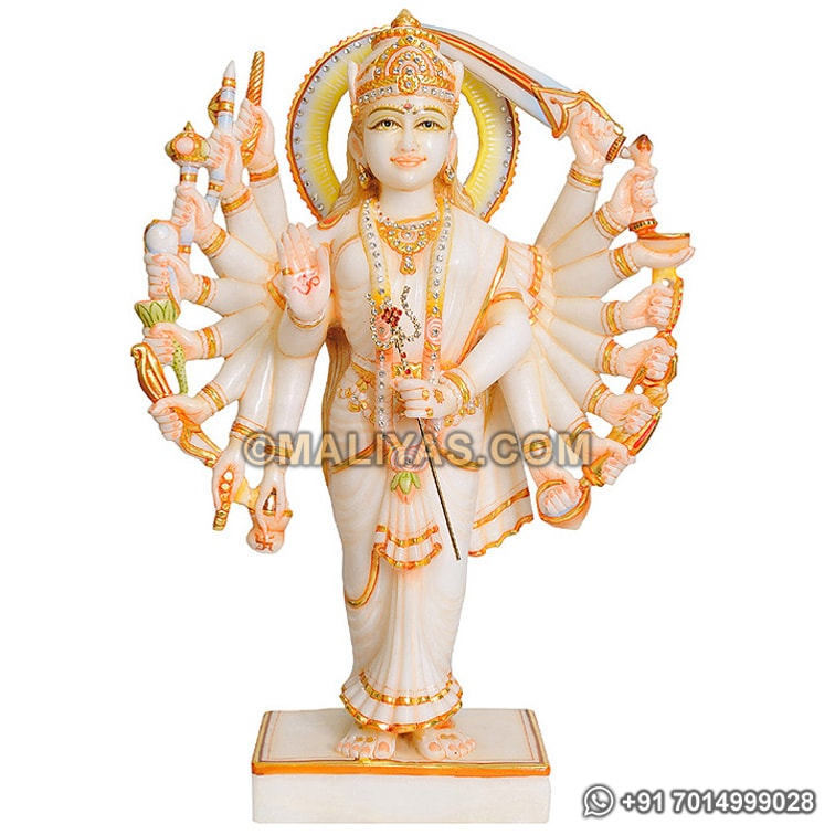 Marble Standing Durga Statue