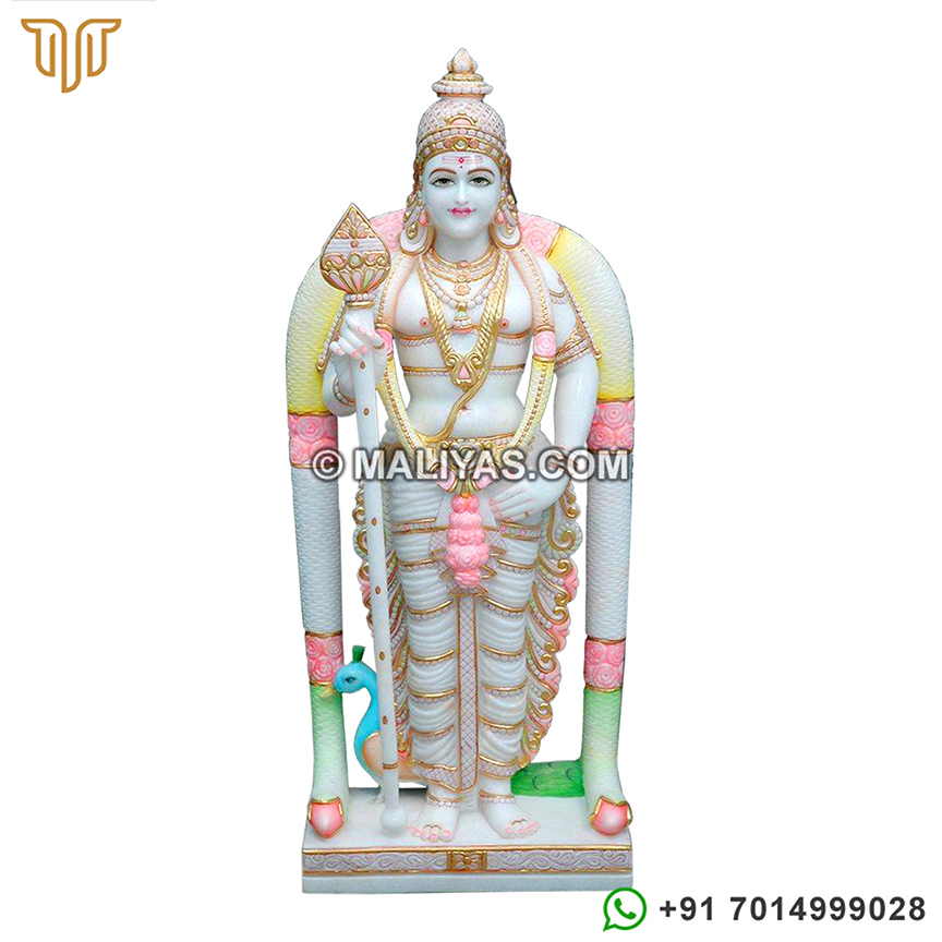 Marble kartikeya Statue with peacock
