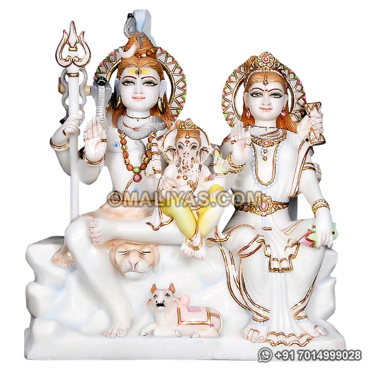 Marble shiva family Statue for temple