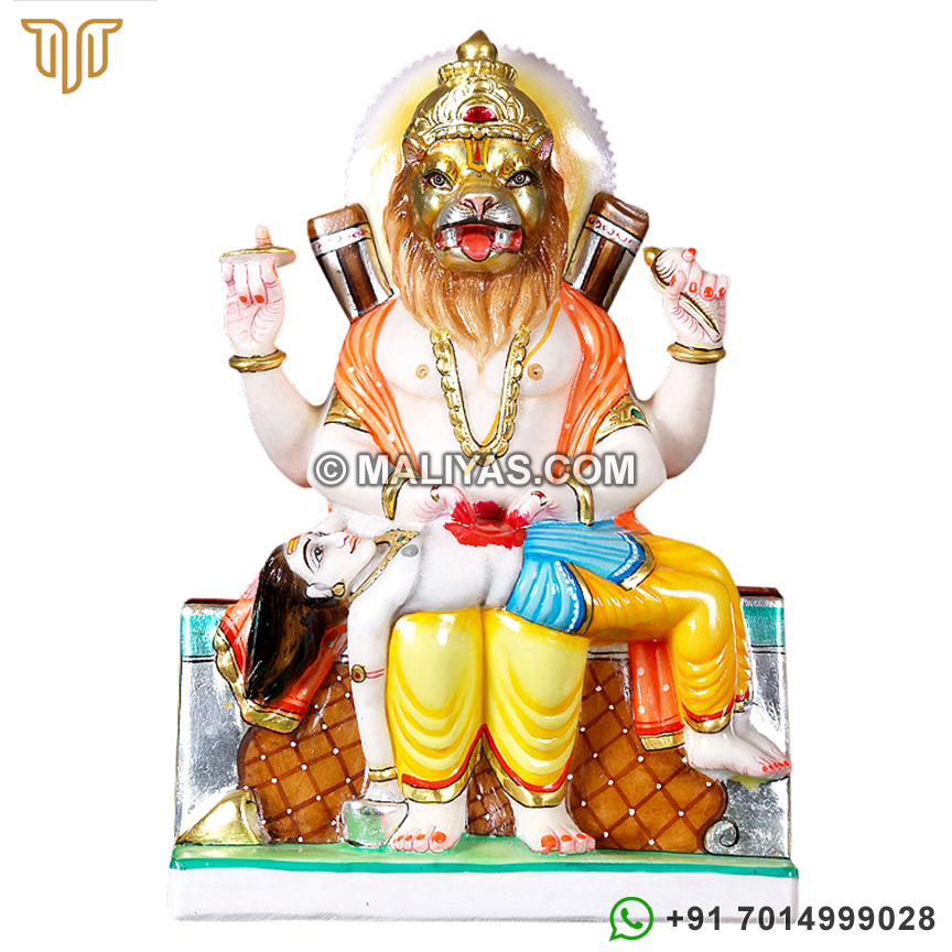 Narsingh Statue from White Marble