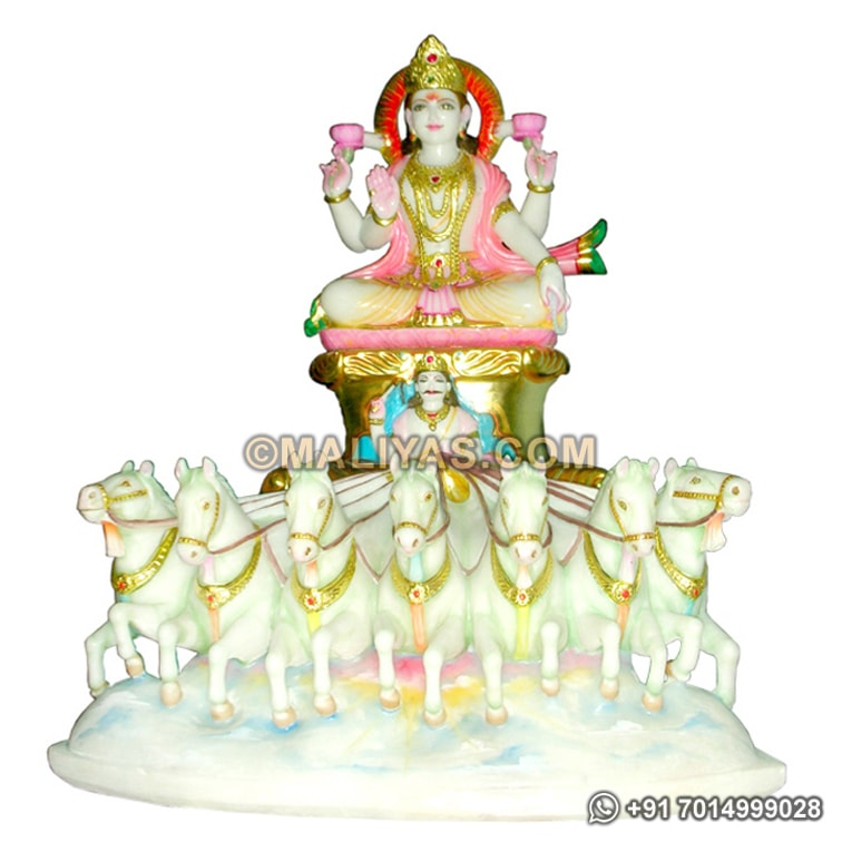 Surya Statue from White Marble