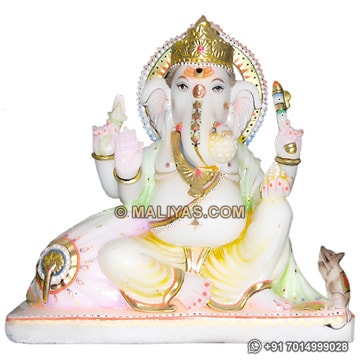 Beautiful Ganesh Murthi carved in Marble stone