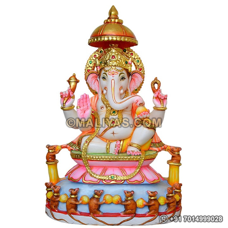 Beautiful Marble Ganesh Statue with Rats