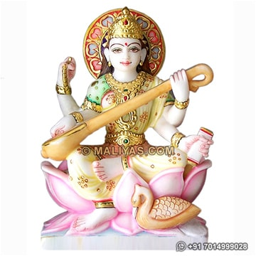 Beautiful Saraswati Statue from White Marble
