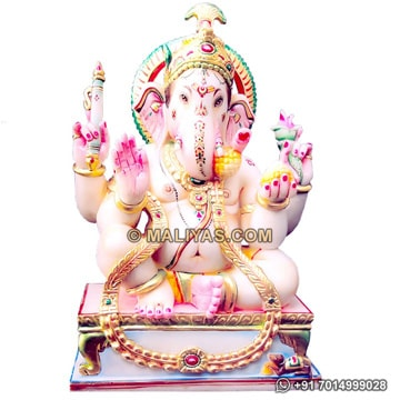 Carved Ganesha Statue from makrana Marble