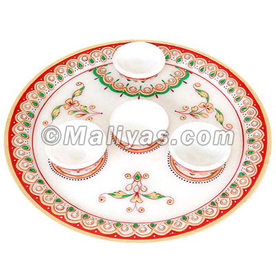 Marble Pooja thali with Beautiful painting work