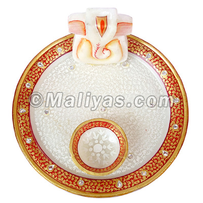 Marble Pooja plate with painting