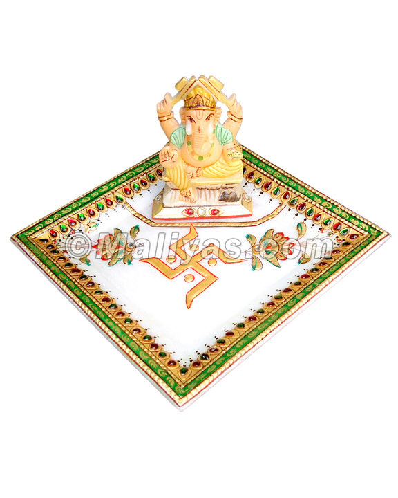 Marble pooja plate with ganesh statue