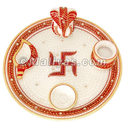 Hand Made Marble pooja thali
