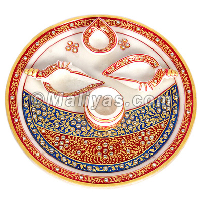 Marble pooja thali with hand painting work