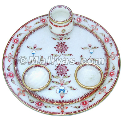 Pooja aarti thali from Spotless White Marble