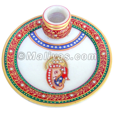 Marble Plate with kalash
