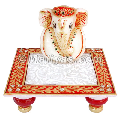 Marble chowki ganesh with hand painting
