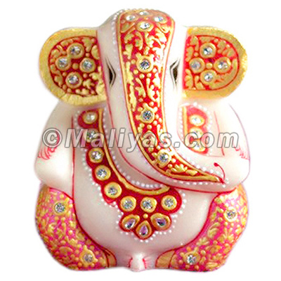 Marble ganesh with kundan painting work