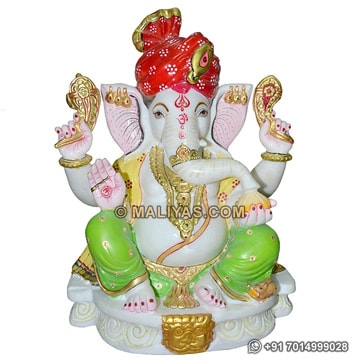 Marble Ganesh Statues with turban
