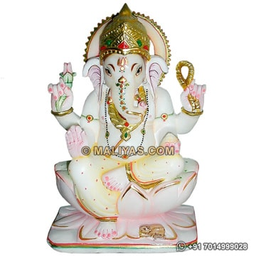 Marble Ganesh statue carved from makrana