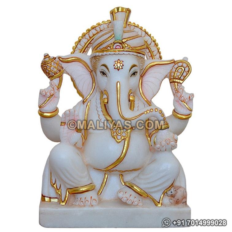 White Marble Ganesha Idol Lord Ganesha Marble Statue Mkarana
